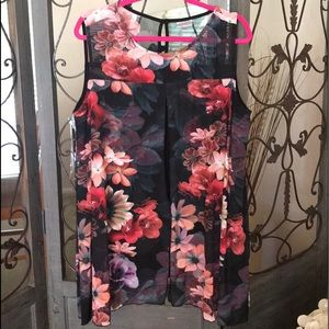 Plus size 22/24 black pink and coral no sleeves
